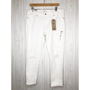 LEVI'S 711 White Distressed Skinny Ankle Jeans